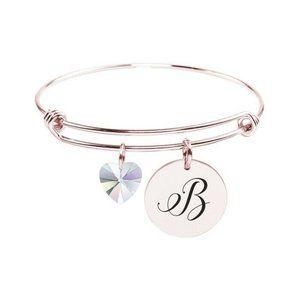Stainless Steel Rose Gold Initial Bangle Bracelet